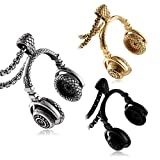 Aienid Men Necklaces Silver Black Gold Stainless Steel Headset Shaped Punk Style Pendant with 60CM,3PCS