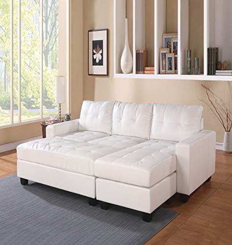 Acme Furniture Lyssa Sectional Sofa W Ottoman 51210 White Bonded Leather Match Furniture Decor