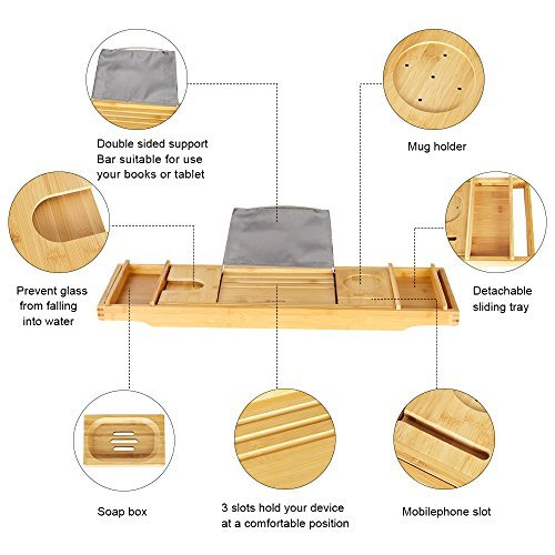 eclife Bamboo Bathtub Caddy Tray Natural Bamboo Frame Holder Free Soap Holder Integrated Tablet Luxury Spa with Folding Sides Natural Ecofriendly Wood, Smartphone Wine Holder Book Holder H01N by eclife (Image #5)