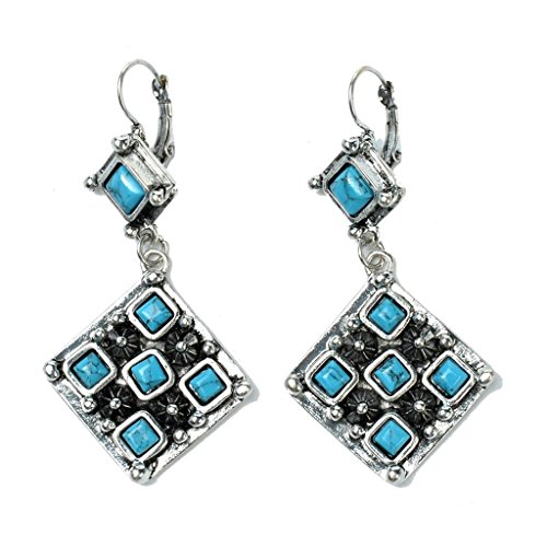 Ginasy Tibetan Silver Geometry Square Imitation Turquoise Drop Dangle (Turquoise Stone Stretch Band Watch)