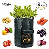 PatioMatrix 4 Pack 10 Gallon Potato Grow Bags, Garden Bag Planter Grow Pots for Vegetables, Carrots, Tomatos & Onions, Heavy Duty & Durable Aeration Fabric Pots with Flap and Handles