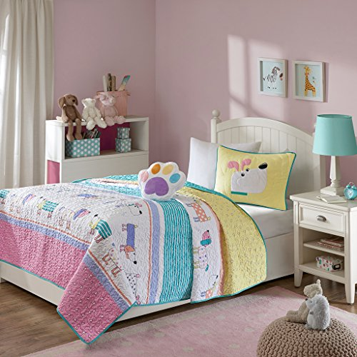 Mi Zone Kids Milo Full/Queen Bedding for Girls Quilt Set - Pink Yellow, Animal Dog – 4 Piece Kids Girls Quilts – Ultra Soft Microfiber Quilt Sets Coverlet (Bedding Quilts Childrens)