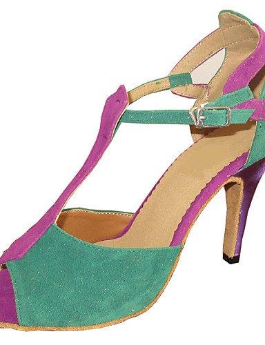 La mode moderne Sandales sandales de femmes d'Amérique latine sur mesure Le sur mesure en daim Talon Chaussures de danse,NOUS,Multi Couleur5/EU35/UK3/CN34