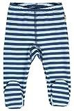 JOHA Baby Jungen Hose mit Fuss Strampelhose DOUBLE STRIPE aus Merinowolle in blau Größe 68-74 (4-9...