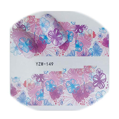 Blooming Flower Series Nail Art Water Transfer Stickers Coconut Tree Abstraction Transfer Diy Nail Tips,149