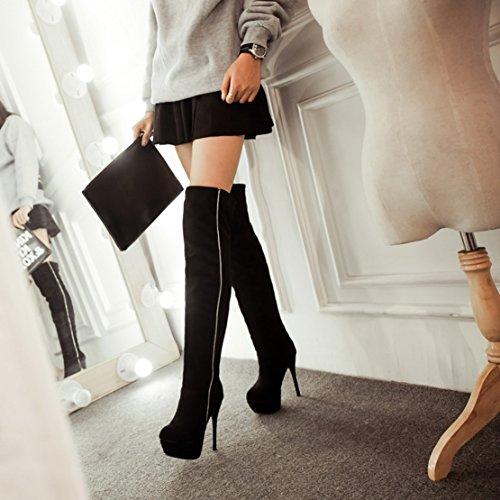 AIYOUMEI Damen Nubukleder Stiletto High Heels Herbst-Winter Runde Schuhe Klassischer Over The Knee Stretch Stiefel Schwarz