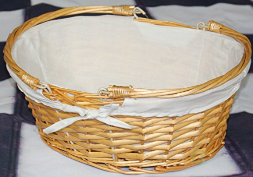 Vintiquewise(TM) QI003055.WF Oval Willow Basket with Double Drop Down Handles by Vintiquewise (Image #1)