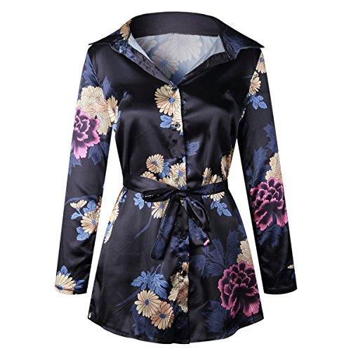 Moxeay Women Long Sleeve Floral Print Satin Silk Button Down Shirt Dress with Belt (XL, (Silk Long Sleeve Floral Print Shirt)