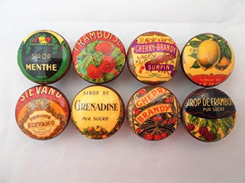 Set of 8 Vintage Liquor Brandy Label Cabinet Knobs