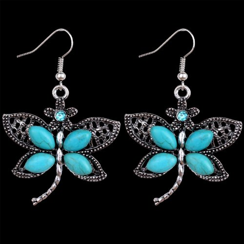 YAZILIND Cute Dragonfly Tibetan Silver-plated Turquoise Drop Dangle Earrings