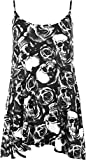 WearAll Women's New Strappy Skull Rose Print Camisole Vest Top - Black White - US 20-22 (UK 24-26)
