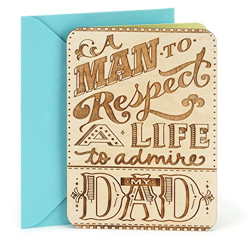 Hallmark Birthday Greeting Card For Dad Wooden Etched