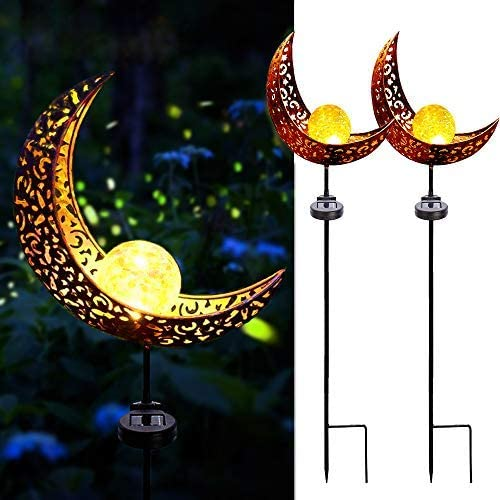 Solar Garden Lights,2 Pack Crackle Glass Globe Antique Brass Metal Stake Warm White Moon Lights,Outdoor Waterproof for Lawn Patio Yard Wedding Party Decorations Light