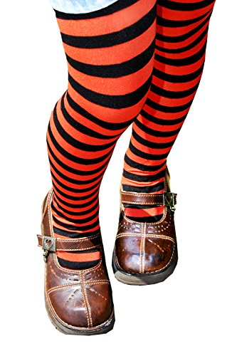 Kid's Black Striped Tights in 20 Color Combos and 4 sizes! (Girls Halloween Tights)