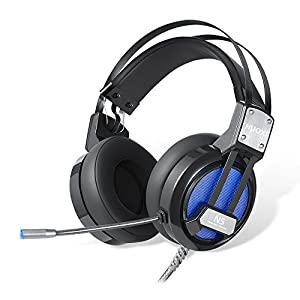 NUOXI N5 Gaming Headset,USB Computer Over-ear Headset Headband with Mic Microphone 7 Colorful LED Light Game Bass Headphones 3D Stero Sound