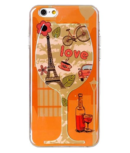 ANYA Luxury 3D Blu-ray Coloful Red Wine Glass TPU Soft Back Case Cover for iPhone 6 4.7inch Tower Bike Car