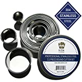 Professional Quality Pastry / Fondant / Cookie Cutters - 11 Piece Round Cutter Set - Stainless Steel Metal Circle Molds best for Biscuit, Dough, Fondants by Ultra Cuisine