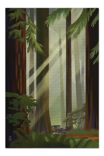 Redwood Forest - Geometric Lithograph (20x30 Premium 1000 Piece Jigsaw Puzzle, Made in USA!)