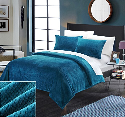 Perfect Home 2 Piece Porto Ultra Plush Micro Mink Waffle textured Twin Blanket and Shams Set Teal