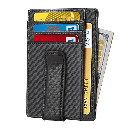 7398268f6d6 Beartwo RFID Blocking Minimalist Genuine Leather Money Clip Wallet Slim  Front Pocket Wallet Credit Card Holder
