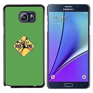 KLONGSHOP // Cubierta de piel con cierre a presión Shell trasero duro de goma Protección Caso - Pato Xing divertido - Samsung Galaxy Note 5 5th N9200 //