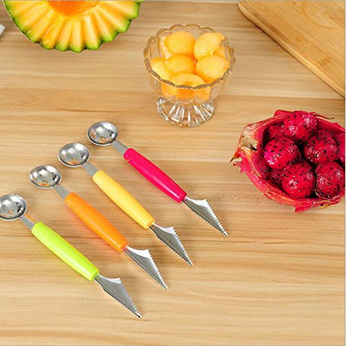 B Blesiya Carving Knive&Scoop Double Use for Fruit Vegetable Art Salad Kitchen Tool Dual-Purpose Melon Baller - Red by B Blesiya (Image #9)