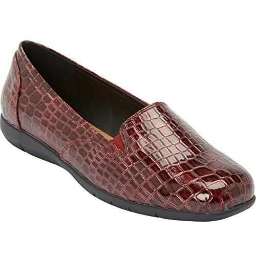 (Comfortview Women's Plus Size The Leisa Flat - Dark Berry, 9 W)