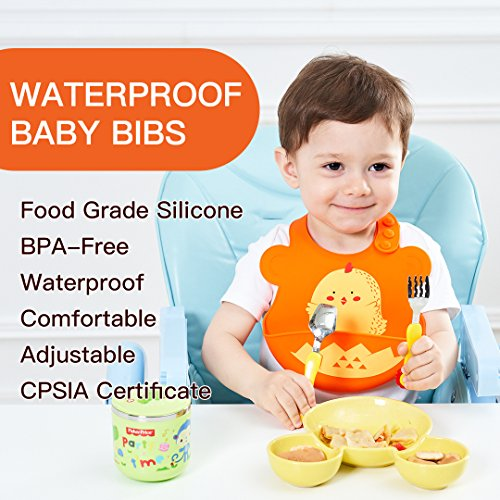 New Silicone Unisex kids Bibs, Soft, Waterproof, Easy Clean, Unisex Bibs with UNCLEWU & ROZI The Chick Silicone Baby Bibs ! 100% Food Grade Silicone Bibs (New Chick)
