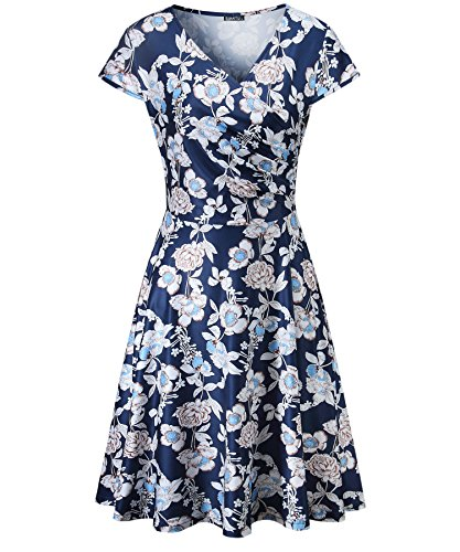 BIKATU Womens Summer Casual V Neck Cap Sleeve Elegant Swing Dress(Floral1,M) ()