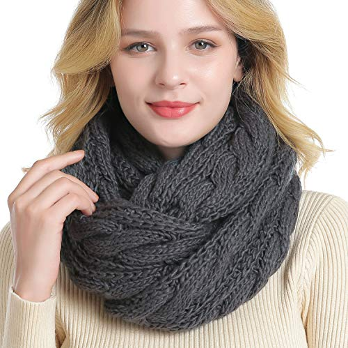 QUEENFUR Winter Women Thick Cable Knit Ribbed Infinity Circle Loop Scarf