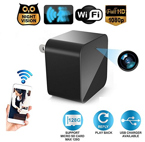[2019 WiFi Camera] 1080P HD Resolution Spy Camera Night Vision & Motion Detection - Hidden Camera, Mini Camera, Nanny Camera, USB Charger Camera Home Office Security Surveillance (Support by AmazeSG
