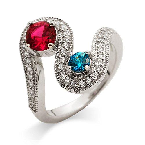 (2 Simulated Stone Swirl Design Custom Ring)