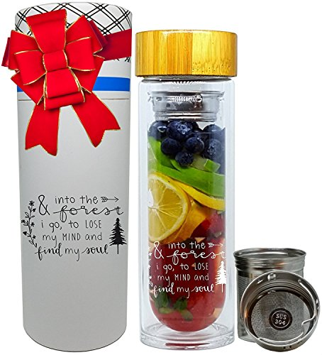 NALU INSPIRE -Find My Soul- Tea Infuser Tumbler, Fruit Infusion Glass Bottle & Coffee Brewer with Filter 15.8oz