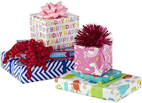 Hallmark Reversible Kids Birthday Wrapping Paper, Monsters and Unicorns (Pack of three, 120 sq. feet. ttl.)
