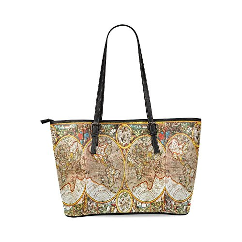 InterestPrint Antique 17Th Century World Map Women's Leather Tote Shoulder Bags Handbags
