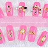 Nail Art Supplies WuyiMC 3D Nail Art Different Designs DIY Gold Flower Ring Decoration Alloy Pearl Jewelry Wheel Nail Art Supplies