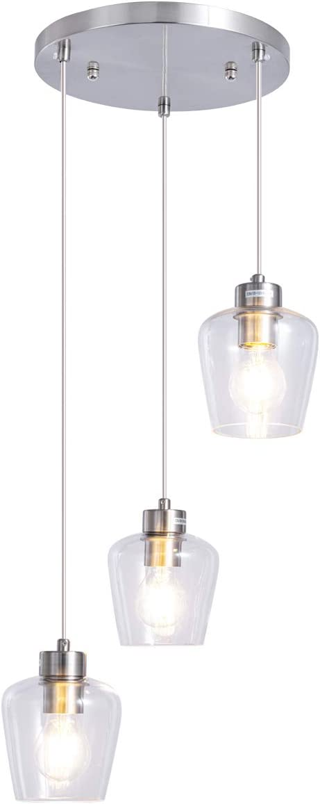 TeHenoo 3-Light Clear Clust Pendants,Polished Chrome Chandelier with Textured Glass Shades for Dining Room,Kitchen Island,Bar
