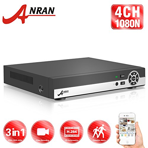 ANRAN 4 Channels Full 960H 3 in 1 AHD+DVR+NVR HD 1080N/720P Digital Video Recorder H.264 Realtime for CCTV Security System Motion Detection P2P