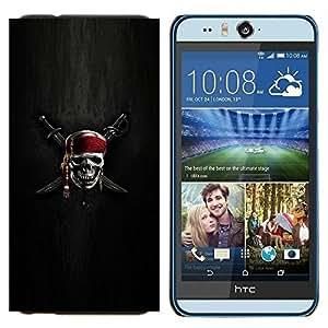 KLONGSHOP // Cubierta de piel con cierre a presión Shell trasero duro de goma Protección Caso - Espadas muestra del cráneo esqueleto pirata Símbolo - HTC Desire Eye M910x //