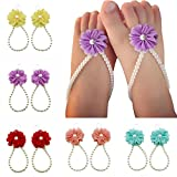 niceEshop(TM) 5 Pairs Baby Girls' Pearl Chiffon Barefoot Foot Flower Beach Sandals