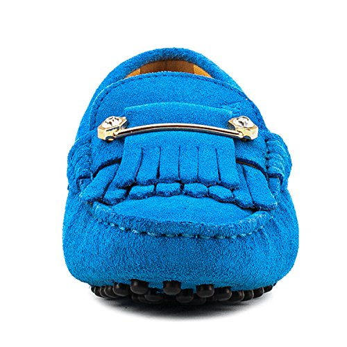 Ausland Dames Loafers Suède Mocassins Instappers Blauw