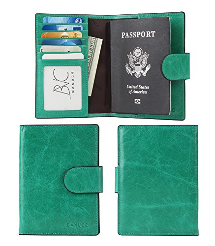 - Banuce Women's Genuine Leather Summer Set Colorful Passport Cover Color Sea Green