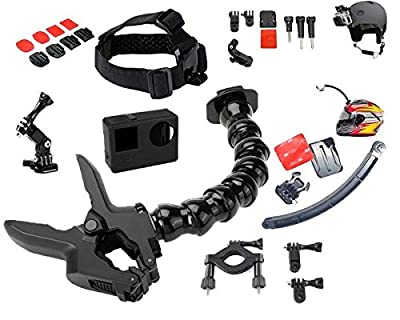 Jaws Flex Clamp with 22 Pcs for All in One Gopro Accessories Kit Bundle Bike Motorcycle Mountain Dirt Bike ATV Offroad BMX Boat