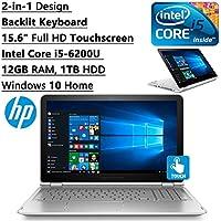 HP Envy High Performance 2-in-1 Convertible 15.6 inch FHD Touchscreen Backlit Keyboard Laptop PC| Intel Core i5-6200U Dual-Core| 12GB RAM| 1TB HDD| WIFI| Bluetooth| Windows 10 (Silver)