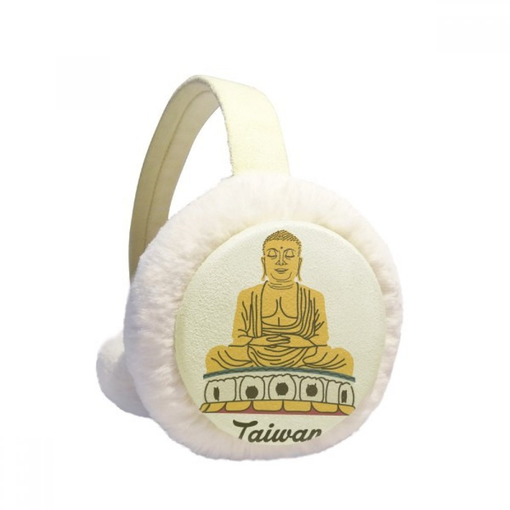 Attractions Taiwan Travel Buddha China Winter Earmuffs Ear Warmers Faux Fur Foldable Plush Outdoor Gift