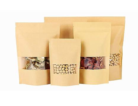 Bolsas de papel Kraft con ventana transparente (20 unidades ...