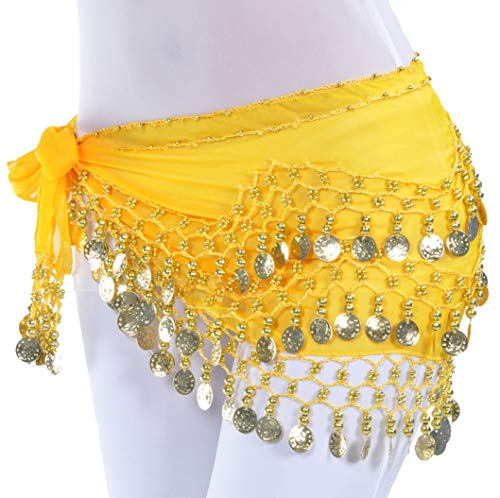 Belly Dancer Hot Pink Hip Scarf Gypsy Belt with Coins Bellydancing Accessaries for Women Girls]()