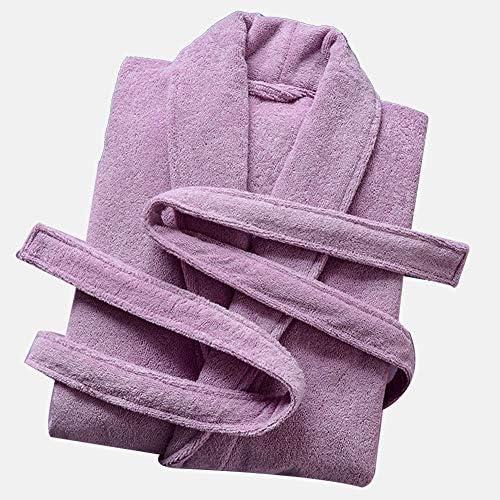 男性用および女性用バスローブコットンタオル、vネック/ベルトタオルバスローブローブバスルームジムシャワースパホテルローブ,紫色,L