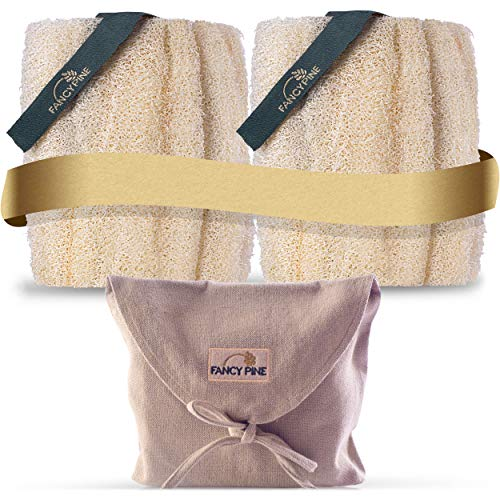 FANCY PINE Loofah Sponge Set of Two for Exfoliating Skin - 100% Natural, Organic Shower Loofahs for Body - Premium, Luxurious Egyptian Body Loufa Sponge for Cellulite - Body Puff Scrubber