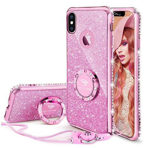 OCYCLONE iPhone X Case for Girl Women, Glitter Cute Girly Diamond Rhinestone Bumper with Ring Kickstand Protective Phone Case for iPhone X - Sakura Pink